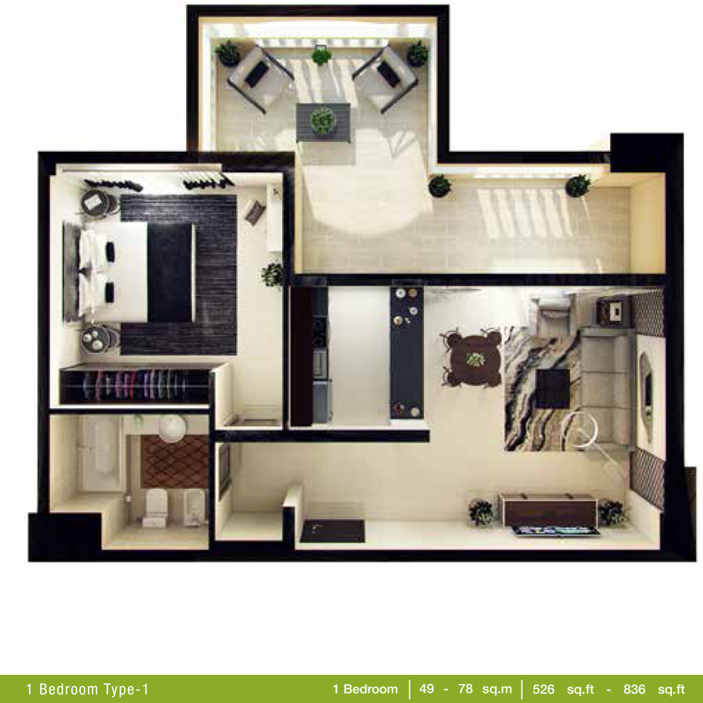 1 Bedroom Type 1, Size 526 - 836 Sq.ft
