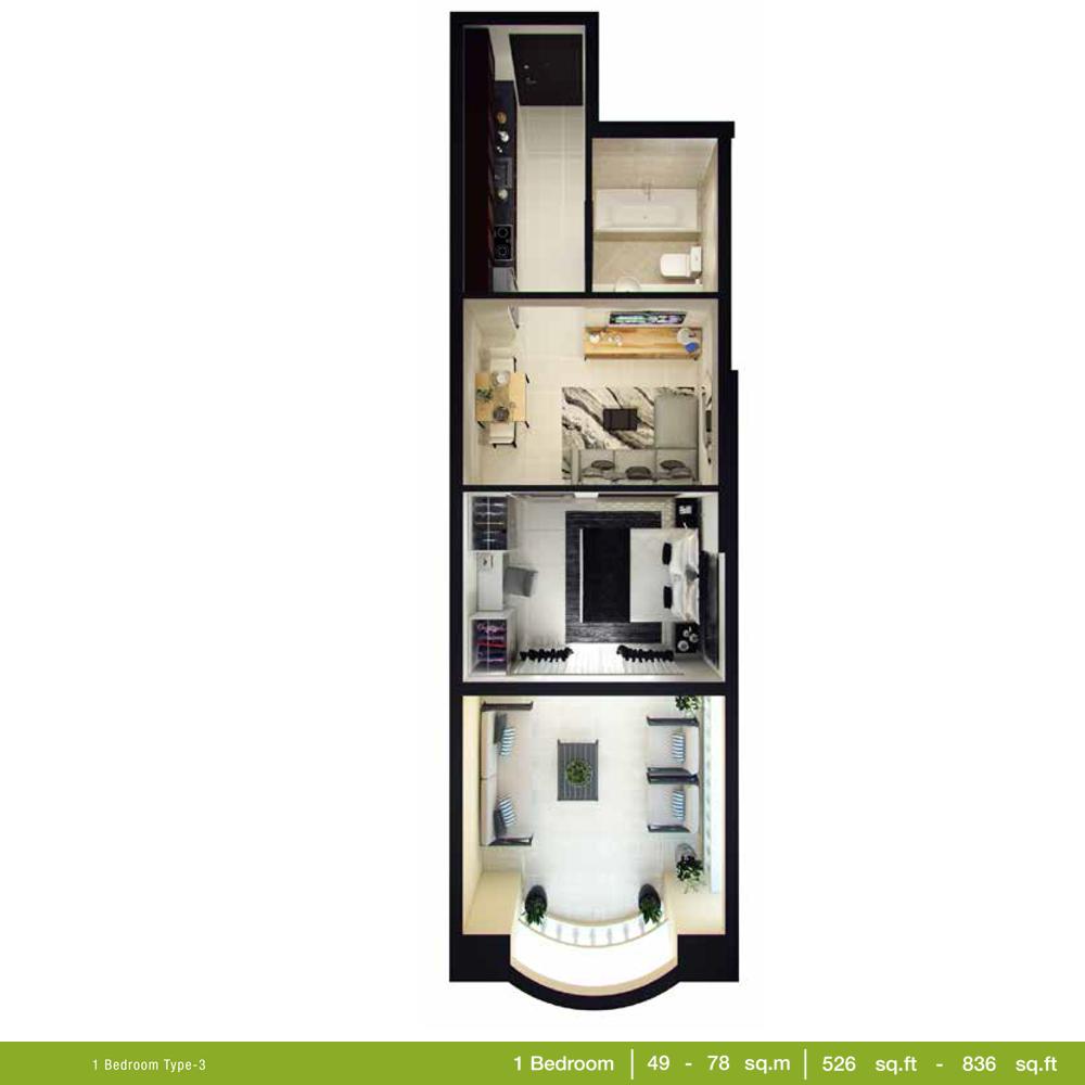 1 Bedroom Type 3, Size 526 - 836 Sq.ft