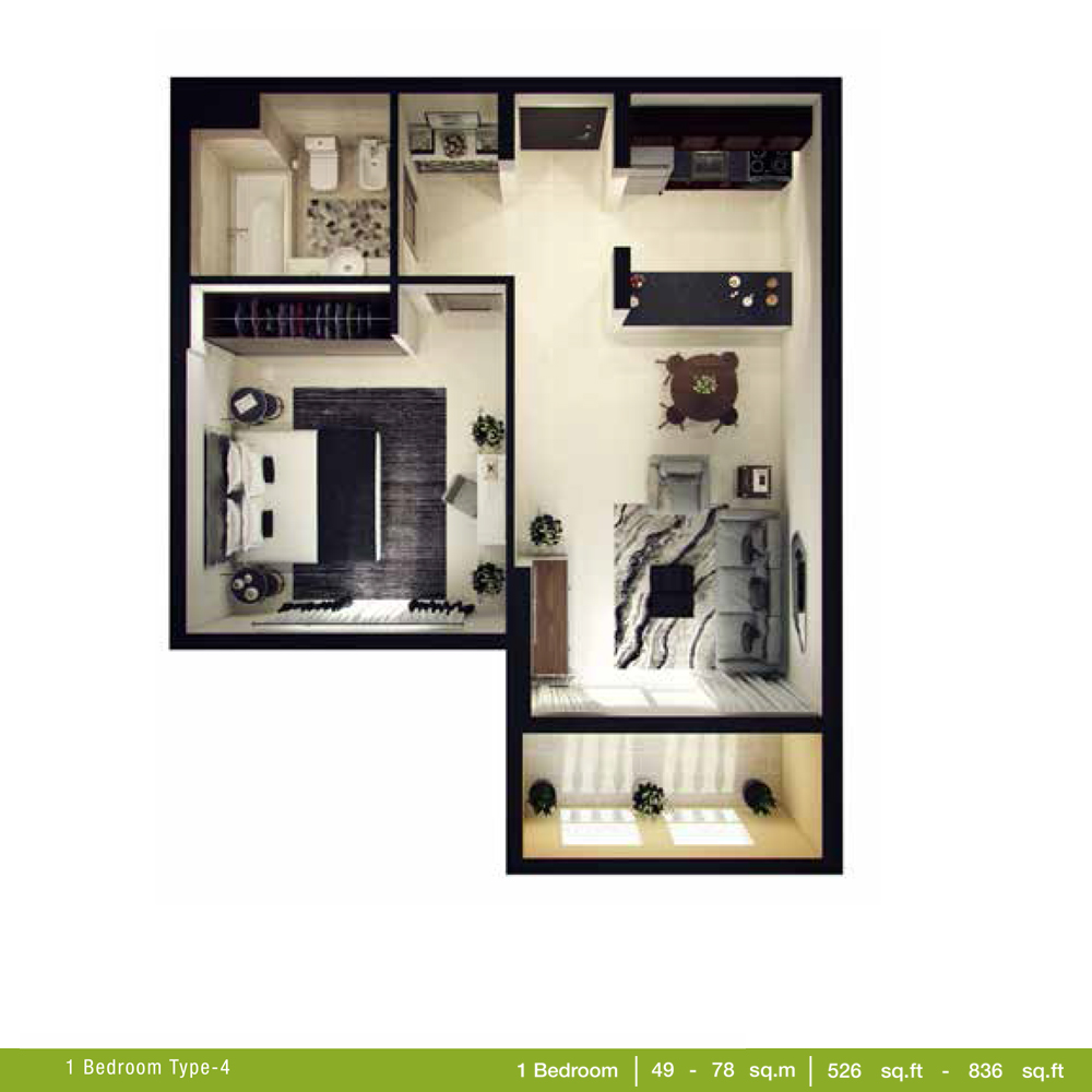 1 Bedroom Type 4, Size 526 - 836 Sq.ft