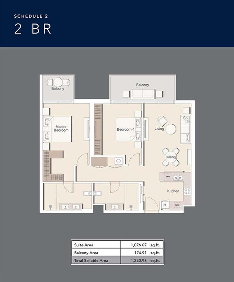 2 Bredroom - Size 1250.98 sq ft