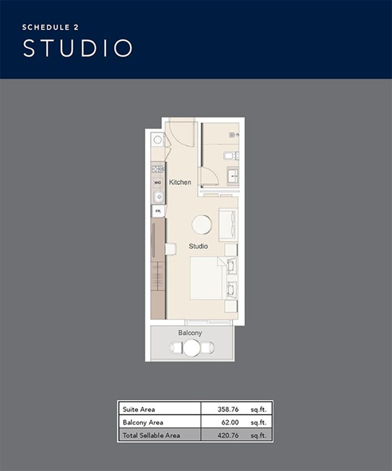 Studio  -  Size 420.76 sq ft