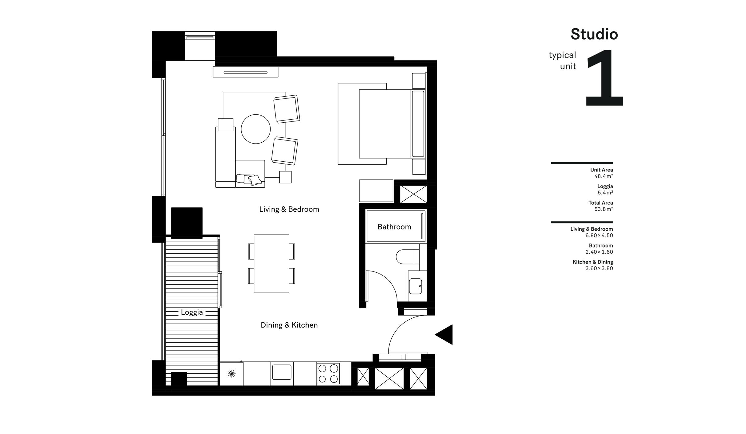 Studio  Size - 53.8 sqm
