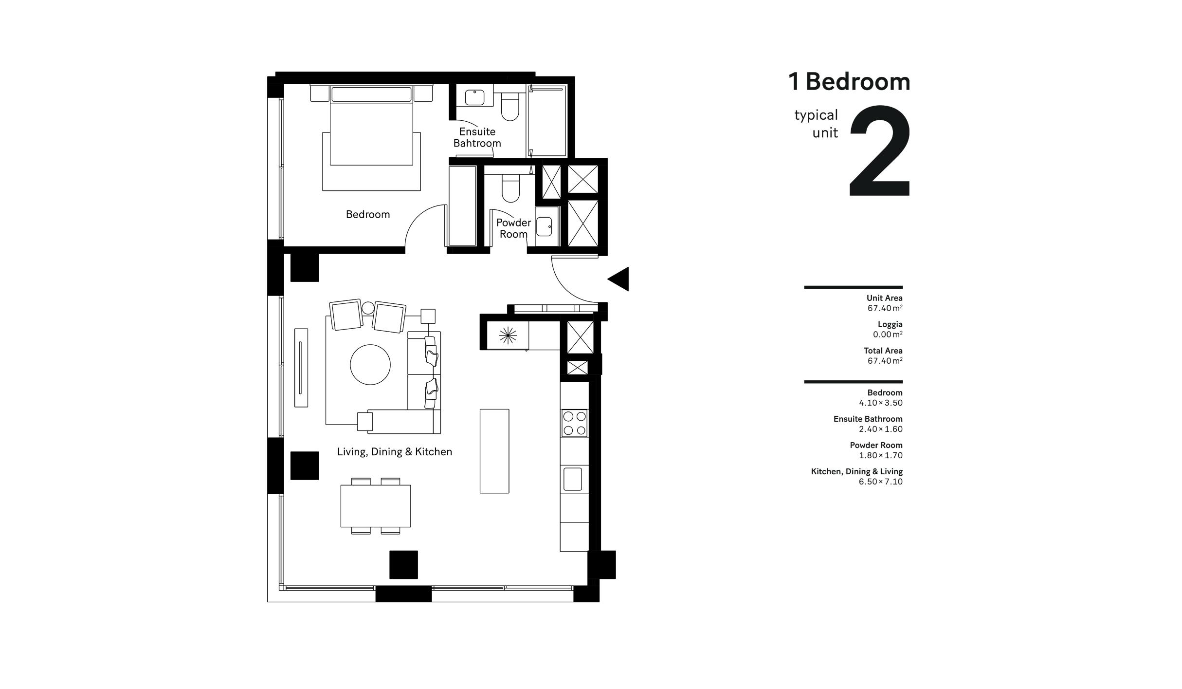 1 Bedroom  Size - 67.40 sqm