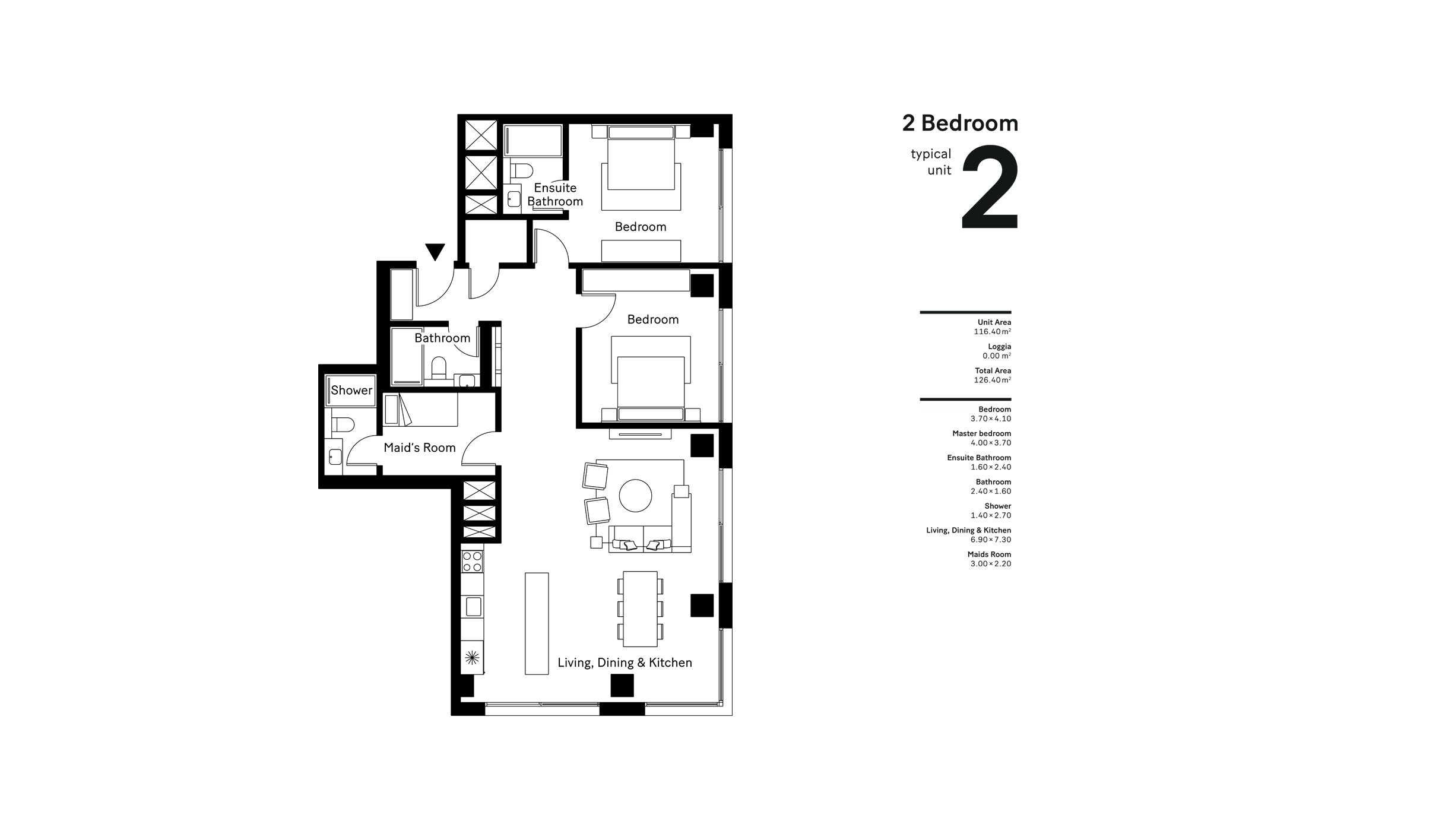 2 Bedroom  Size - 126.40 sqm