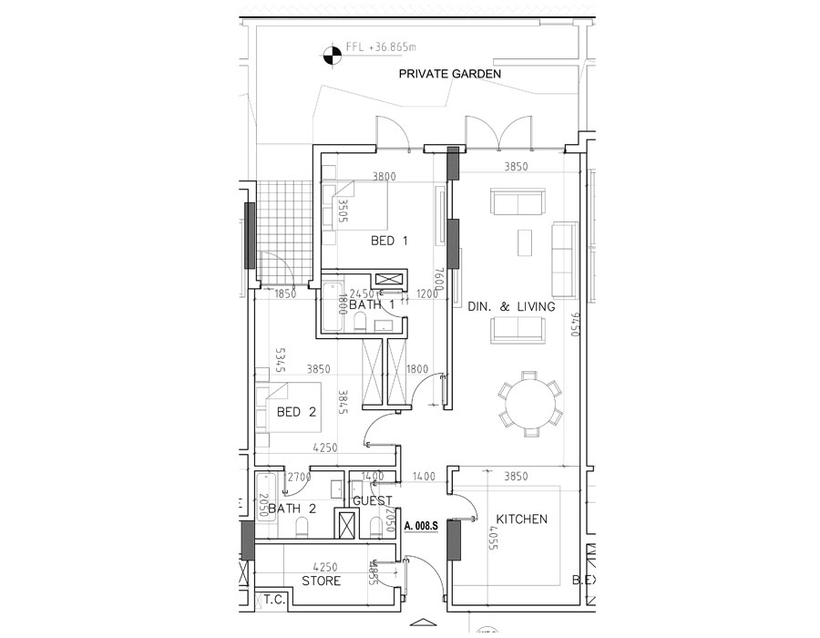 2 Bedroom Duplex, Size 1628.36 sq ft
