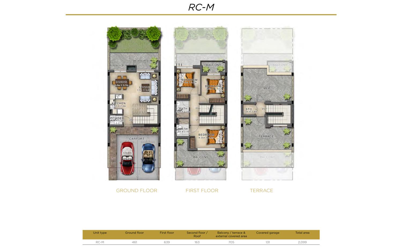 3 BR RC-M    3 Bedroom Villa, Size 2099 sq ft