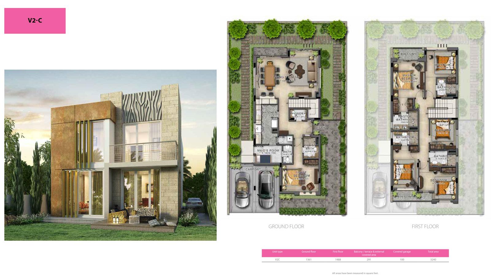 3 BR V2C    3 Bedroom Villa, Size 3240 sq ft