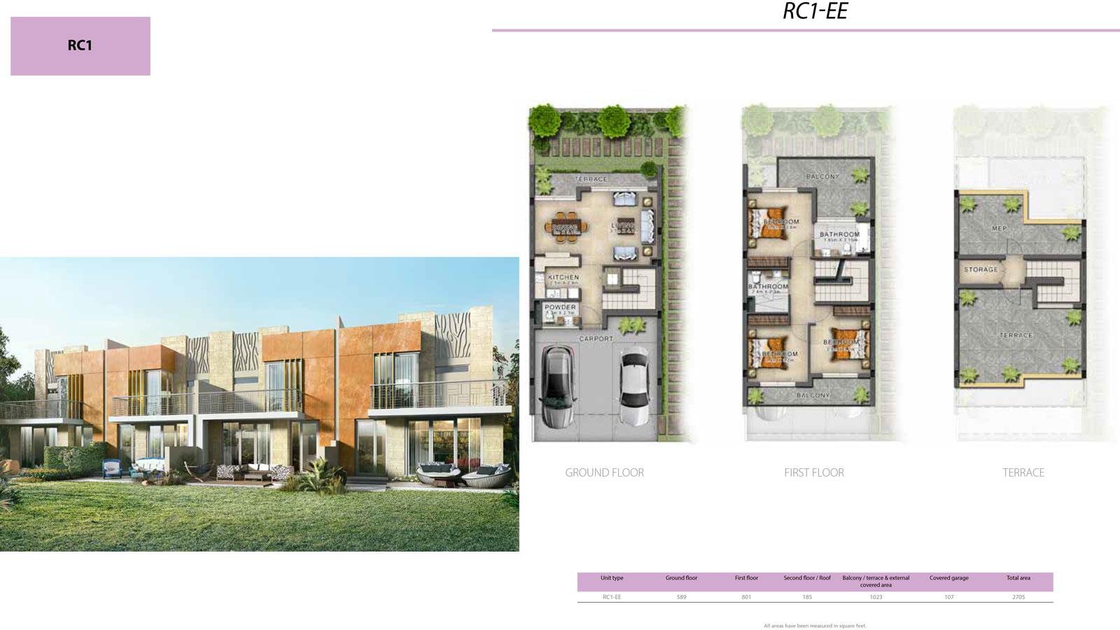 3 BR RC1            (RC1-EE, 3 Bedroom Villa, Size 2705 sq ft)