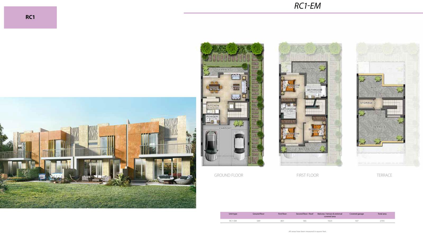 3 BR RC1          (RC1-EM, 3 Bedroom Villa, Size 2705 sq ft)