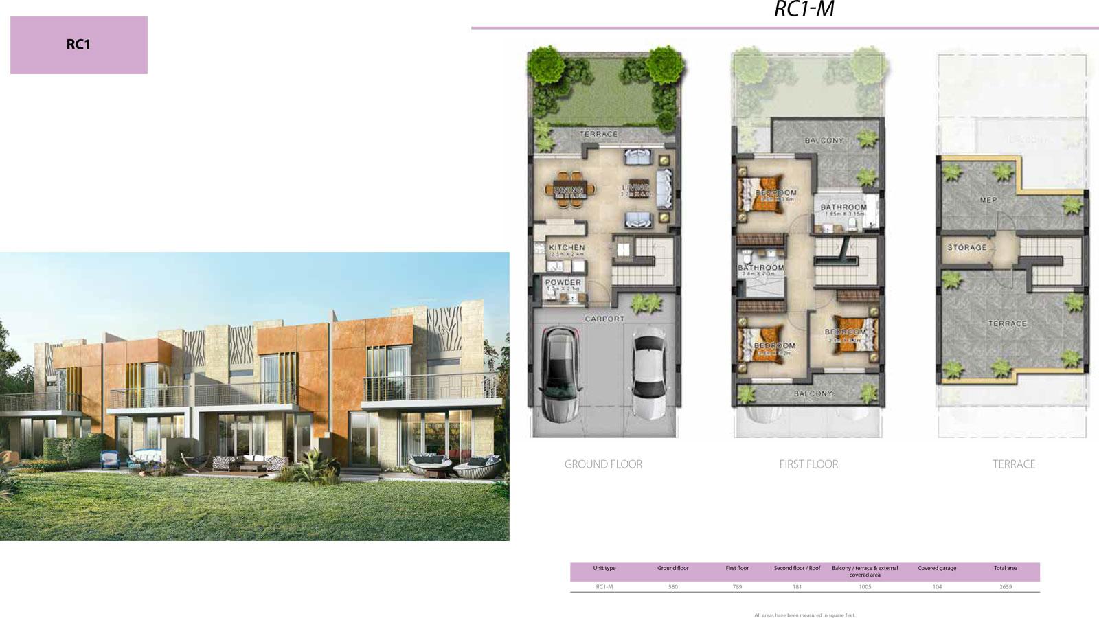 3 BR RC1      (RC1-M, 3 Bedroom Villa, Size 2699 sq ft)