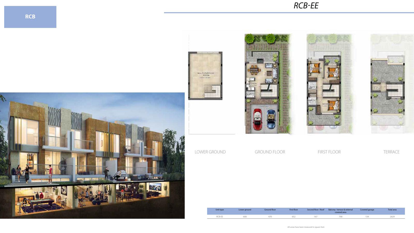 3 BR RCB       (RCB-EE, 3 Bedroom Villa, Size 2829 sq ft)