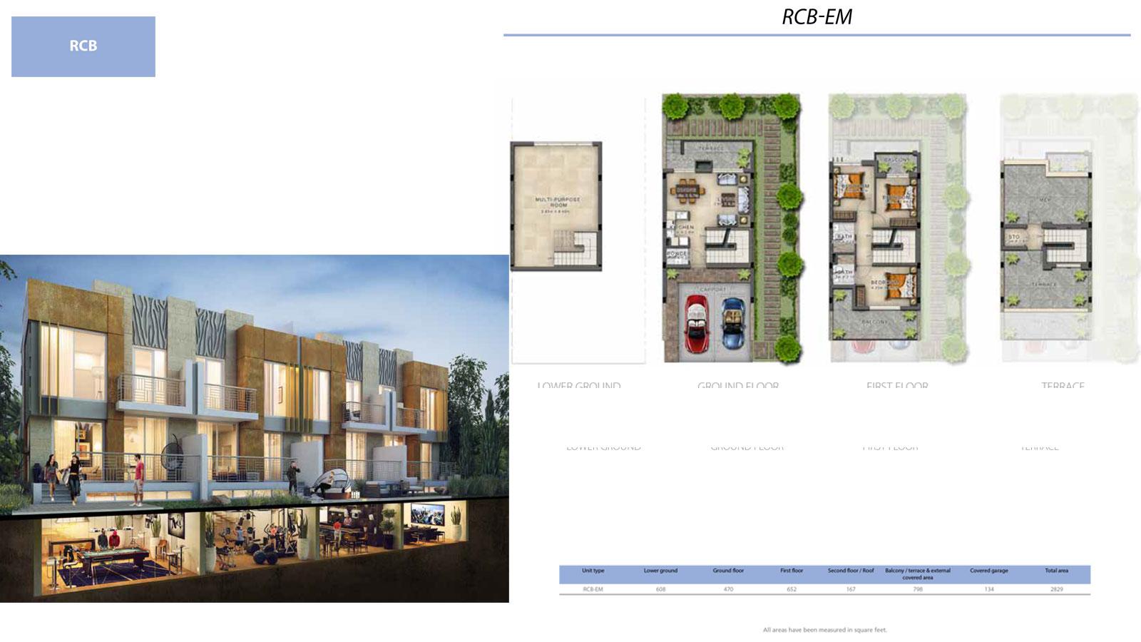 3 BR RCB       (RCB-EM, 3 Bedroom Villa, Size 2829 sq ft)