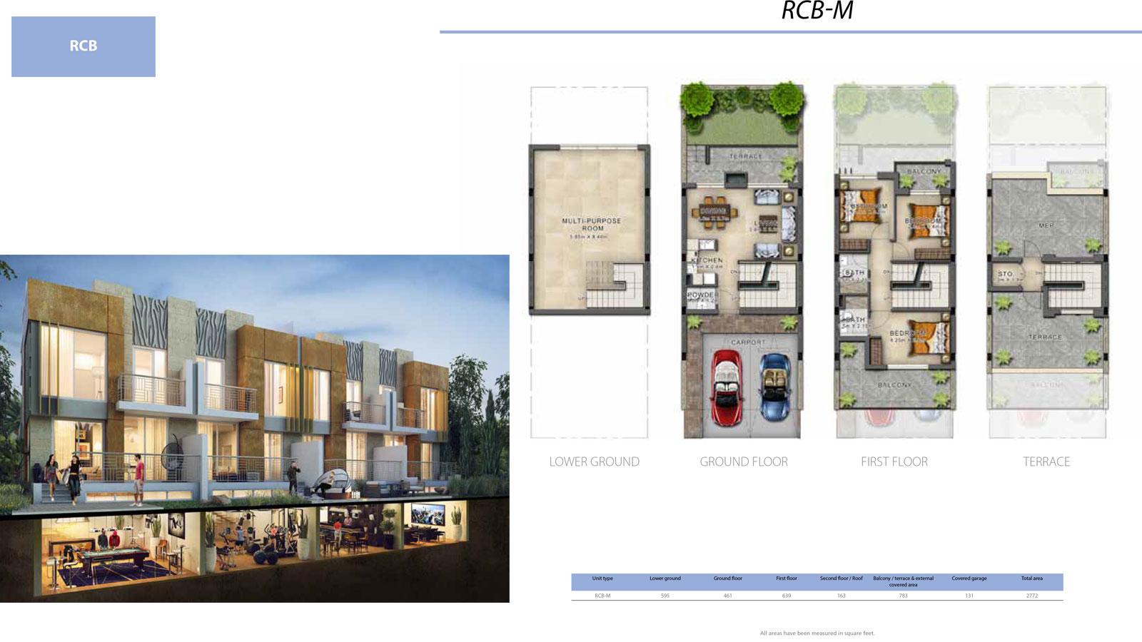 3 BR RCB       (RCB-M, 3 Bedroom Villa, Size 2772 sq ft)