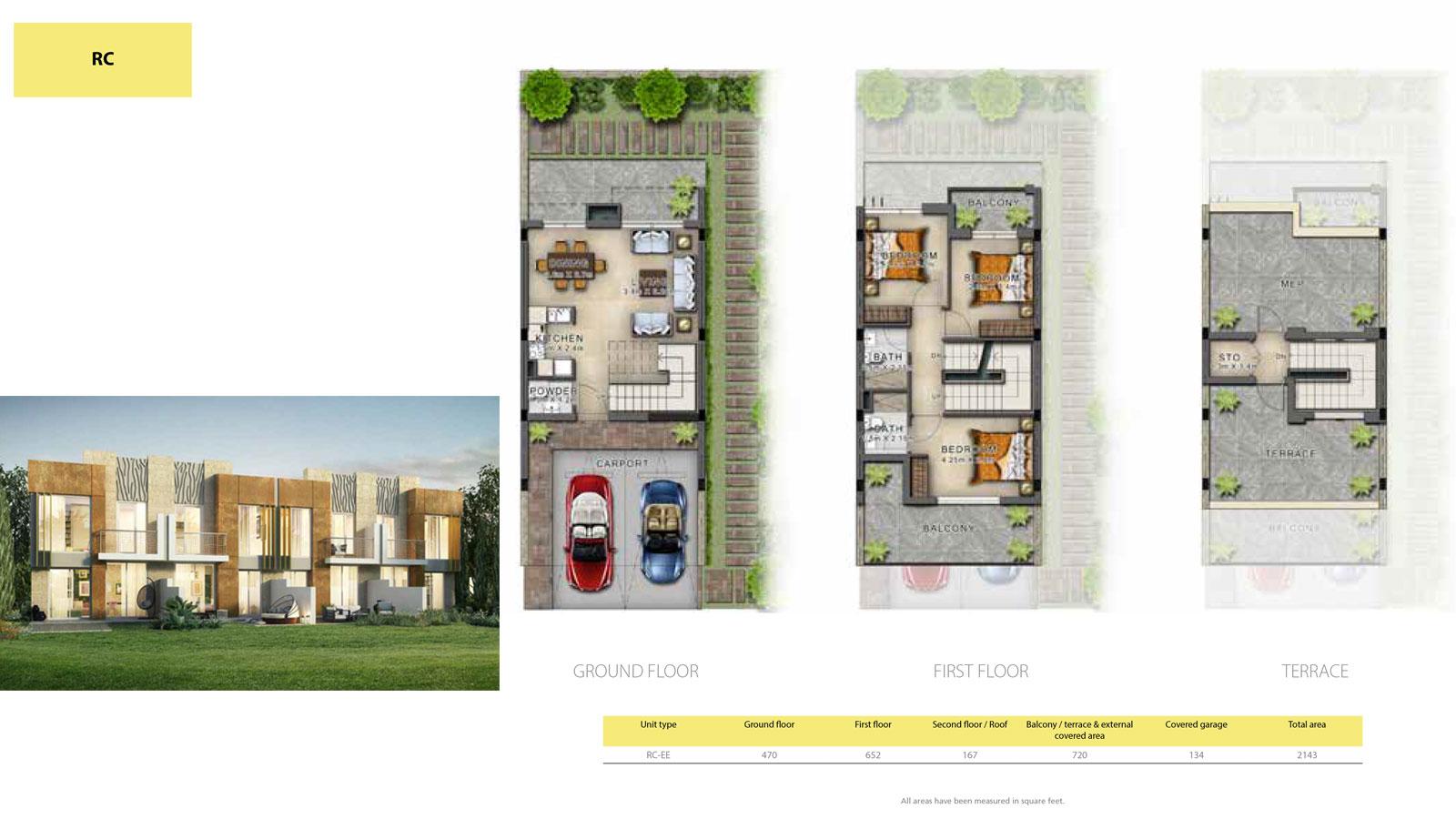 3 BR RC       (RC-EE, 3 Bedroom Villa, Size 2143 sq ft)