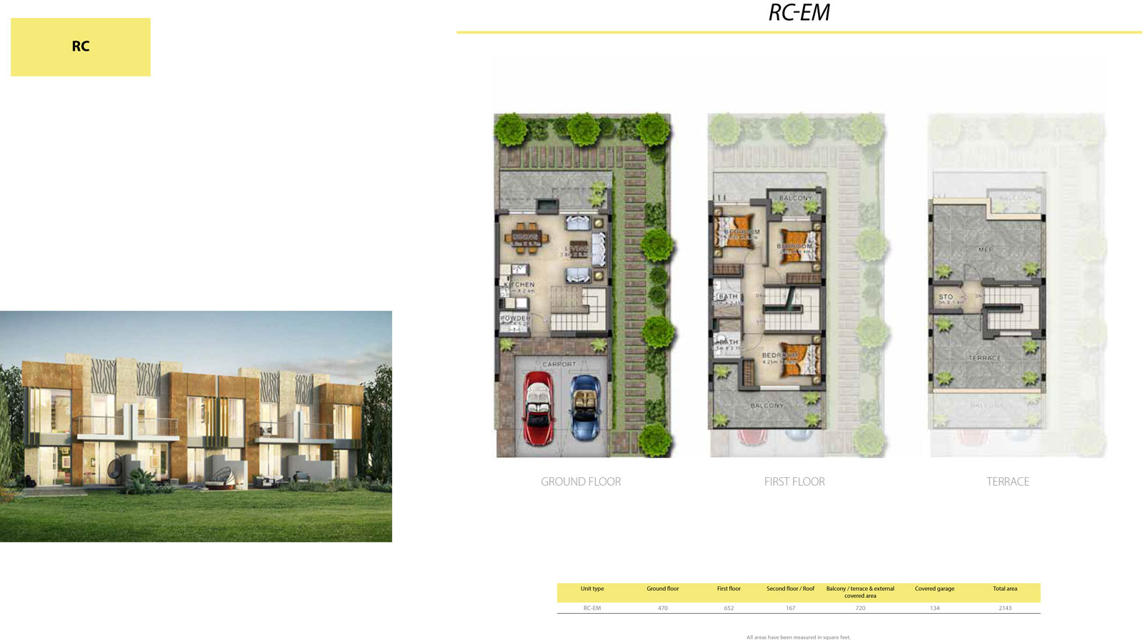 3 BR RC       (RC-EM, 3 Bedroom Villa, Size 2143 sq ft)