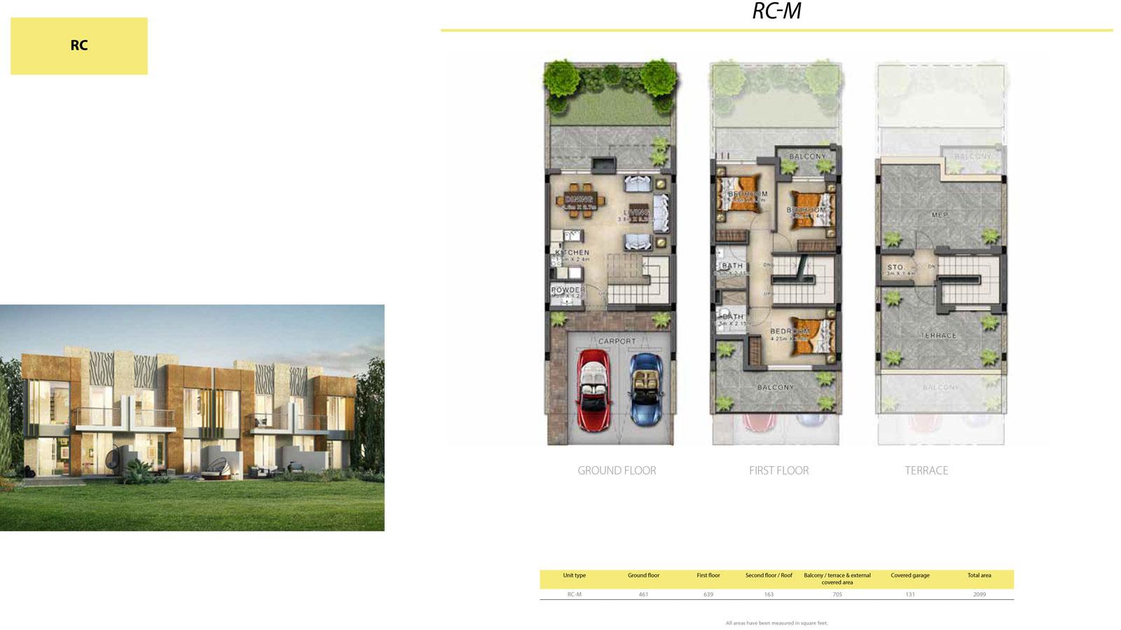 3 BR RC       (RC-M, 3 Bedroom Villa, Size 2099 sq ft)
