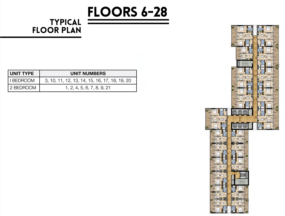 Floors   6th - 28th Floor Typical Layout Plan