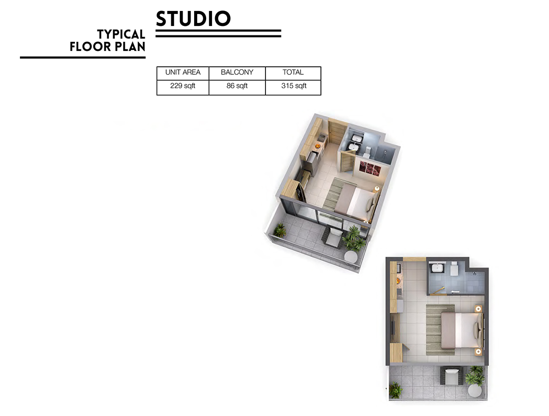 Studio   Floor Plan, Size 315 sq.ft.