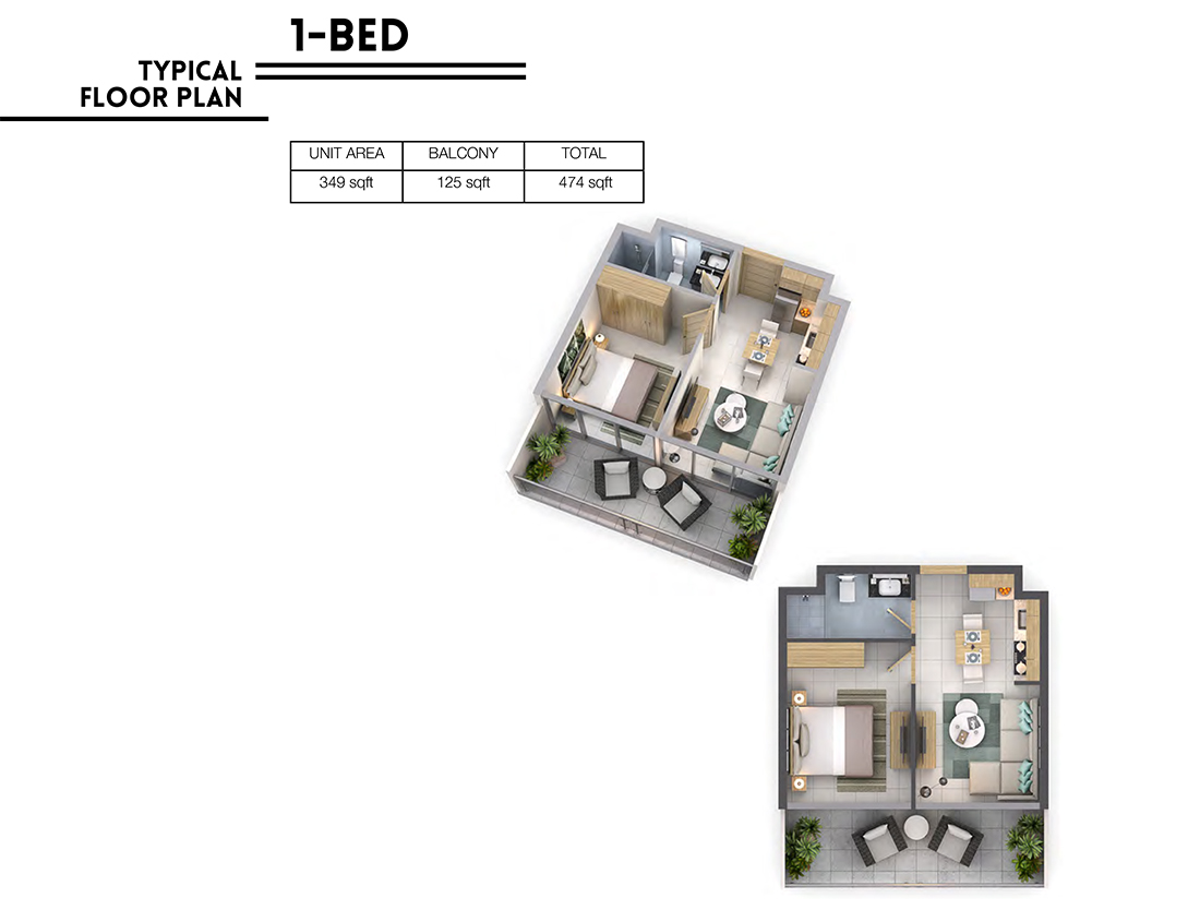 1 Bedroom   Floor Plan, Size 474 sq.ft.