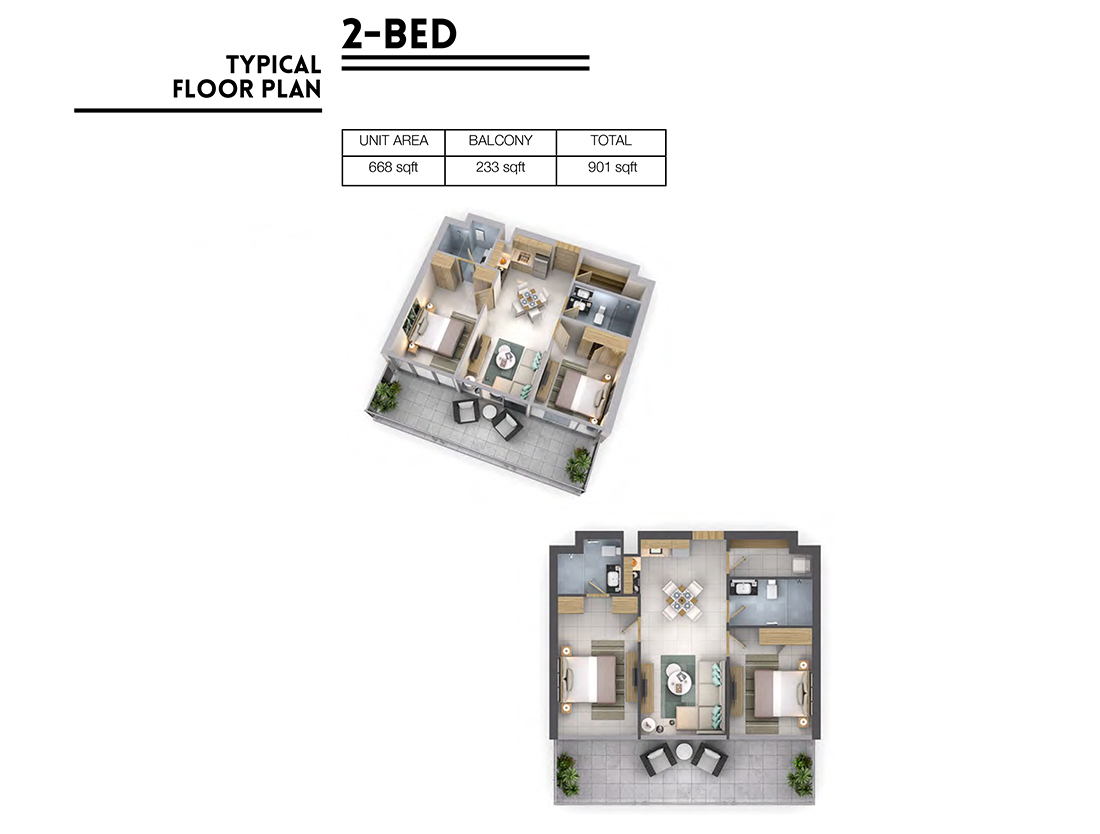 2 Bedroom   Floor Plan, Size 901 sq.ft.