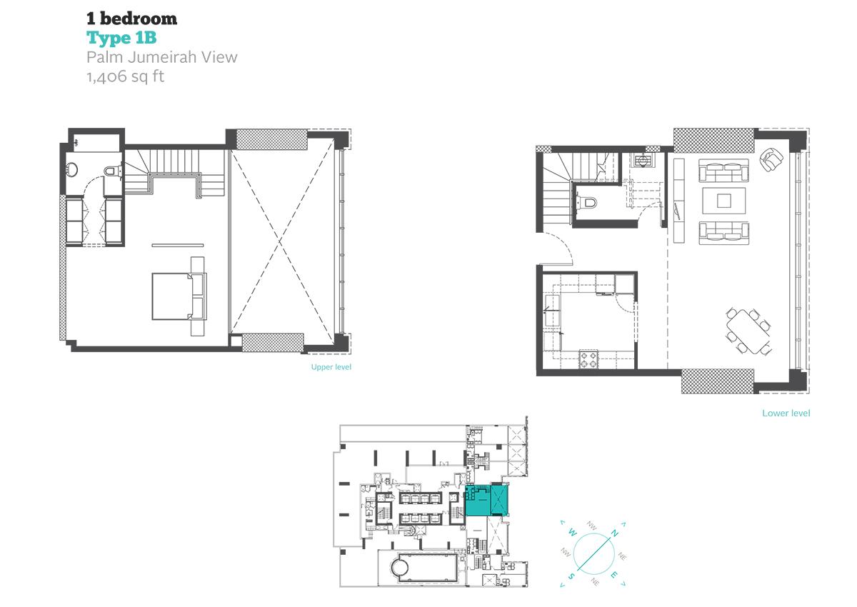 1 Bedroom Type 1B Size 1406  sq. ft.