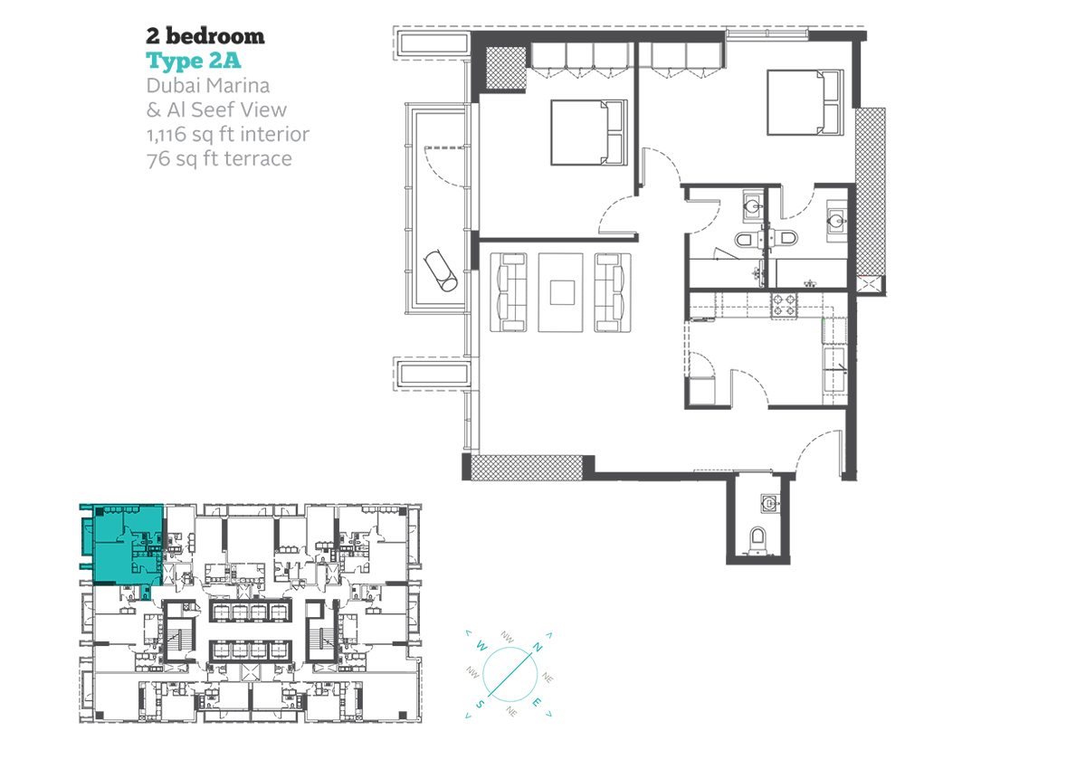 2 Bedroom Type 2A Size 1116  sq. ft.