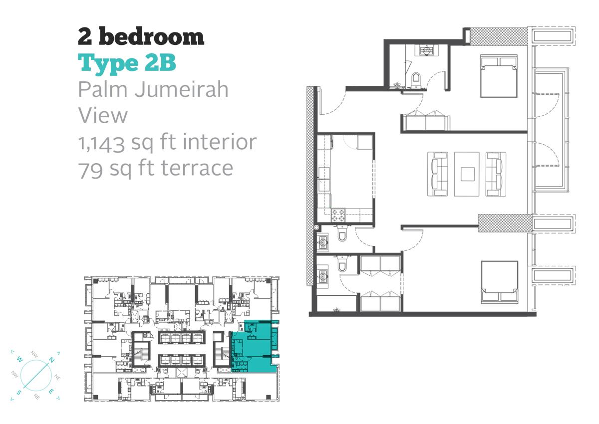 2 Bedroom Type 2B Size 1143  sq. ft.