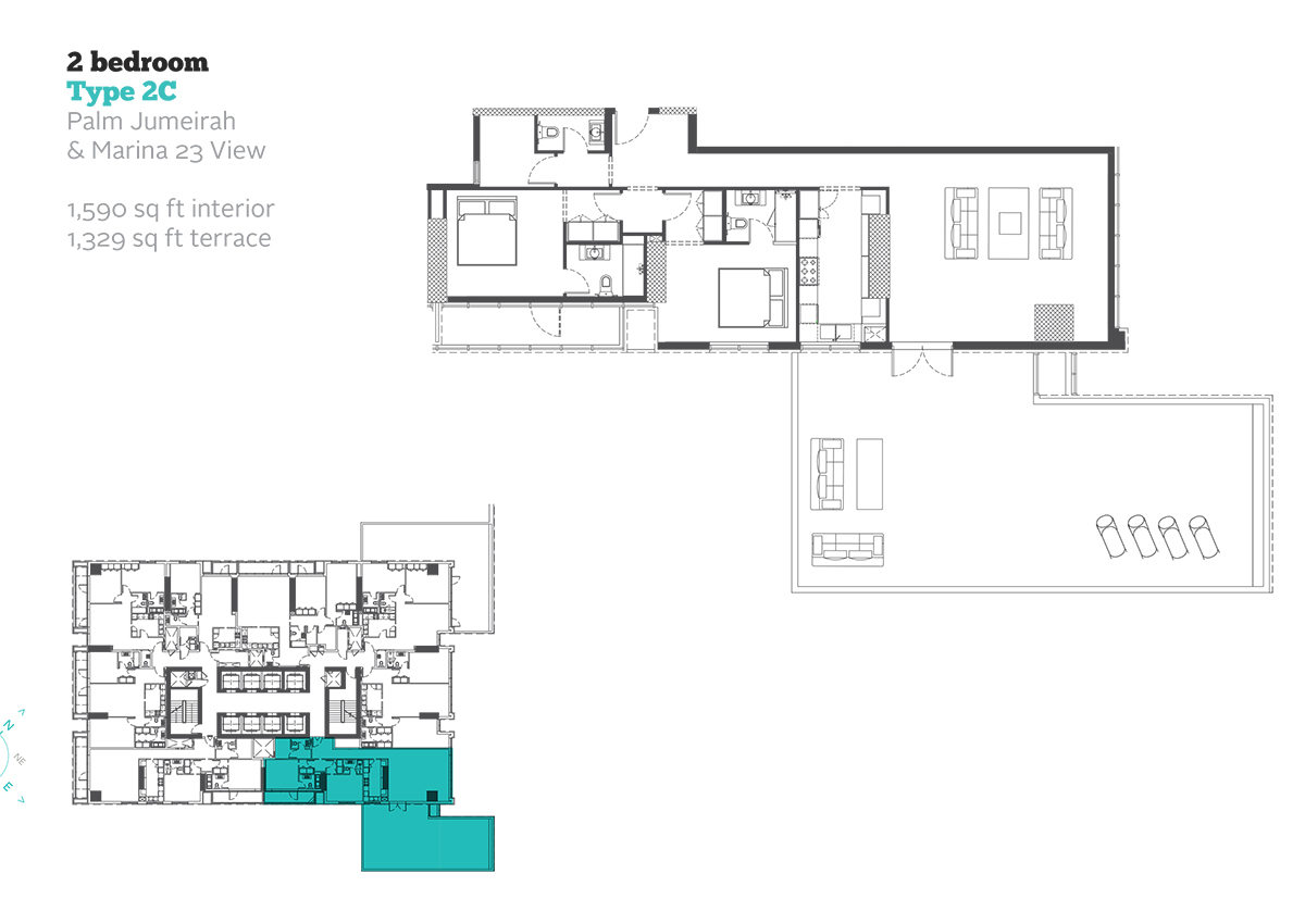 2 Bedroom Type 2C Size 1590  sq. ft.