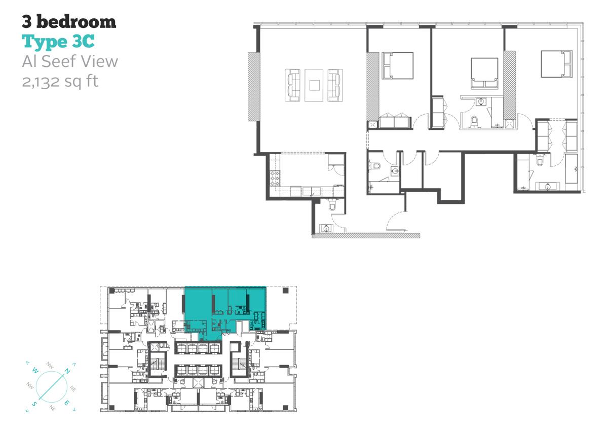 3 Bedroom Type 3C Size 2132  sq. ft.