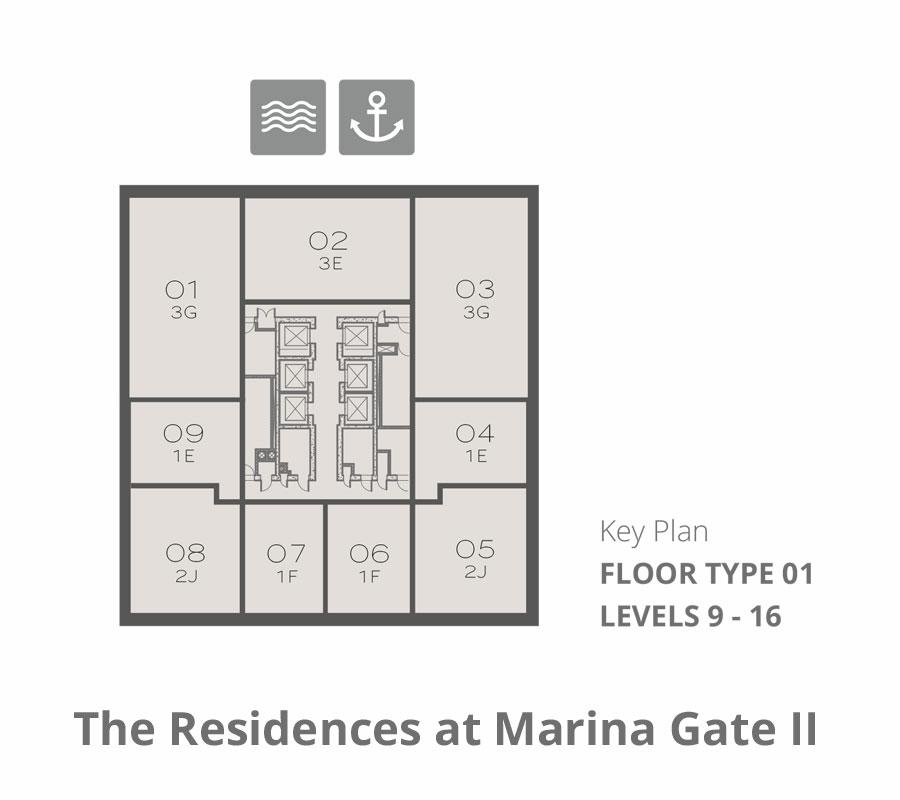 Tower 2    Floor-Type-1-Levels-9-16
