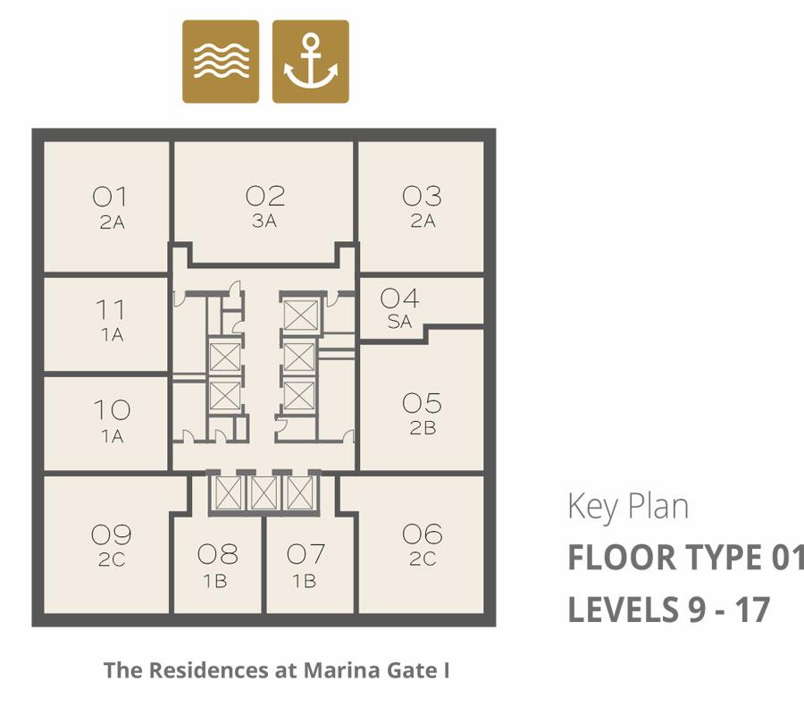 Tower 1    Floor-Type-1-Levels-9-17