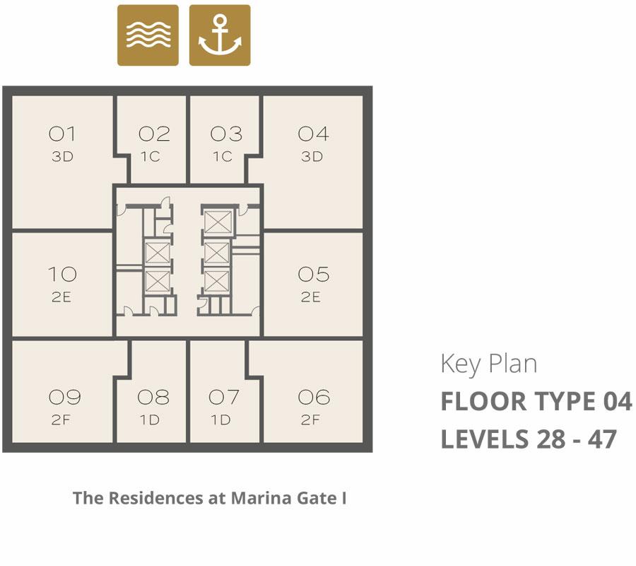 Tower 1    Floor-Type-4-Levels-28-47