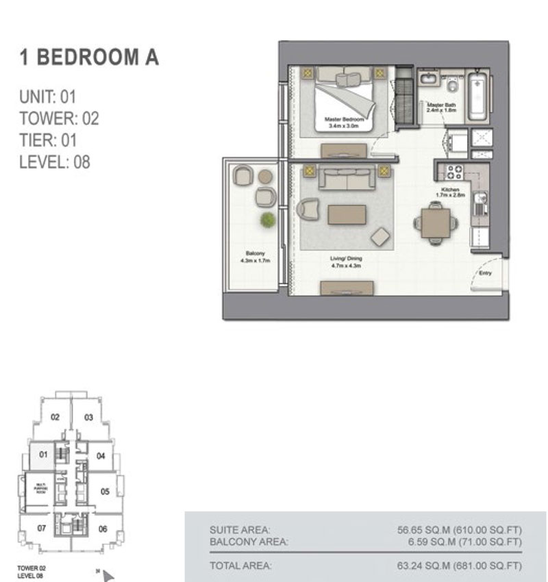 1 Bedroom A Size 681.00  sq. ft.