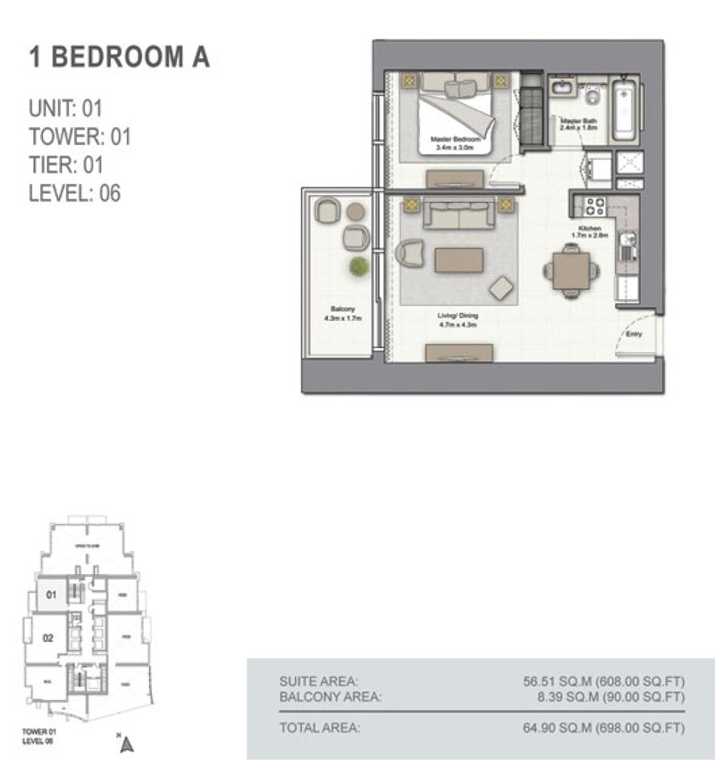 1 Bedroom A Size 698.00  sq. ft.