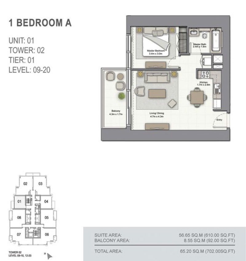 1 Bedroom A Size 702.00  sq. ft.