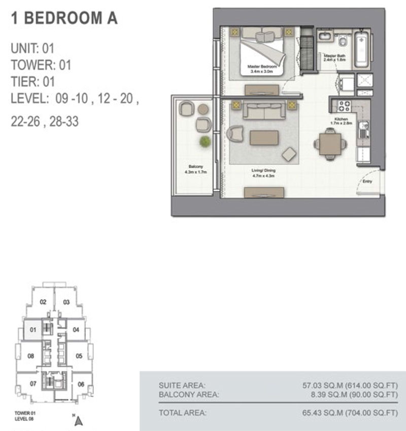 1 Bedroom A,  Size 704.00  sq. ft.