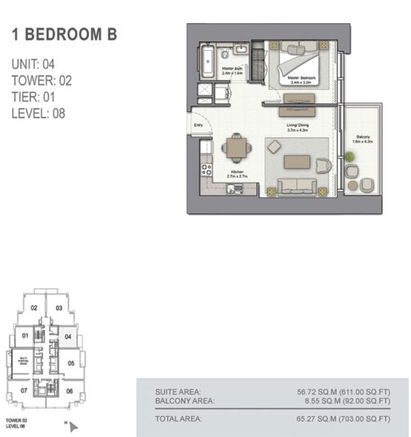 1 Bedroom B, Size 703.00  sq. ft.