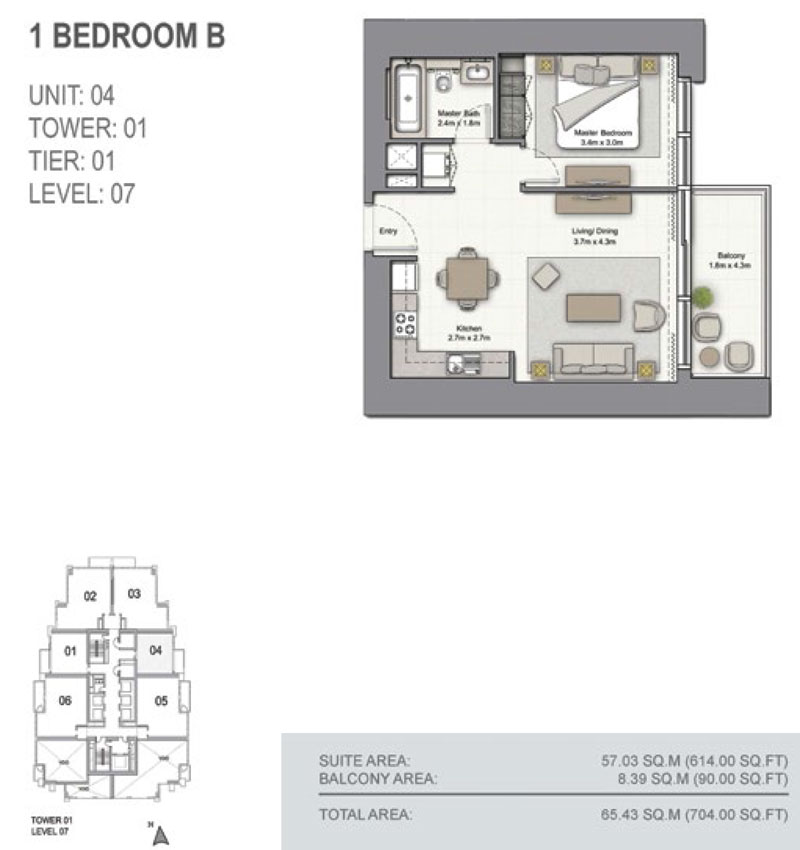 1 Bedroom B, Size 704.00  sq. ft.