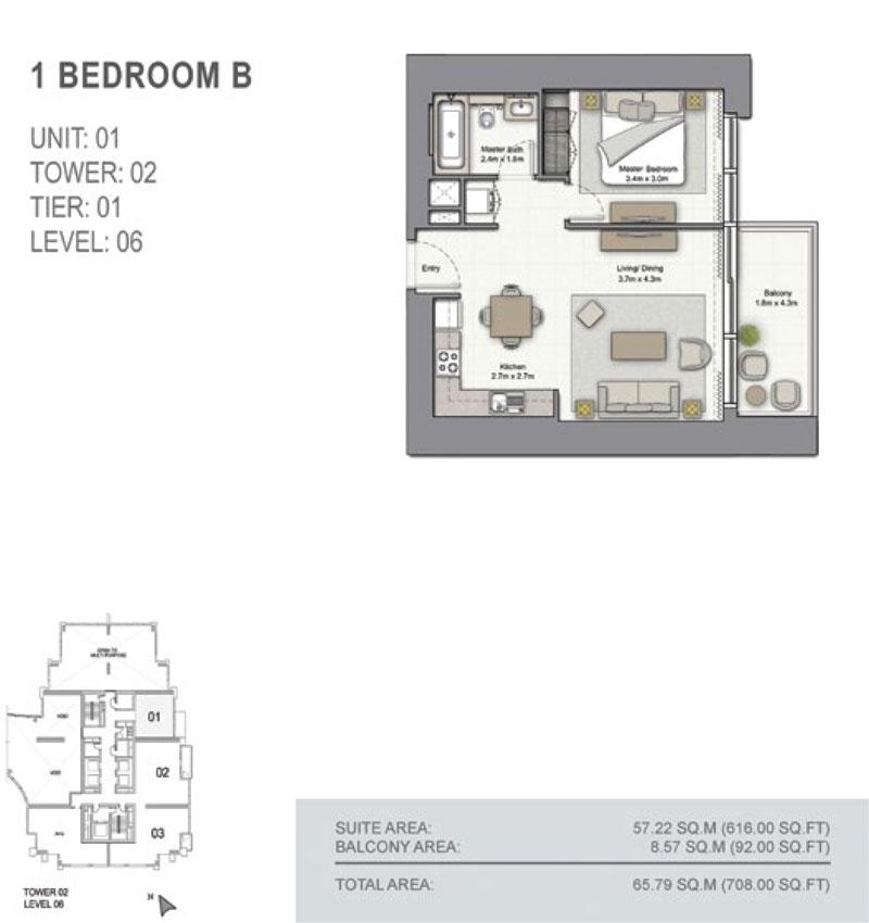 1 Bedroom B, Size 708.00  sq. ft.