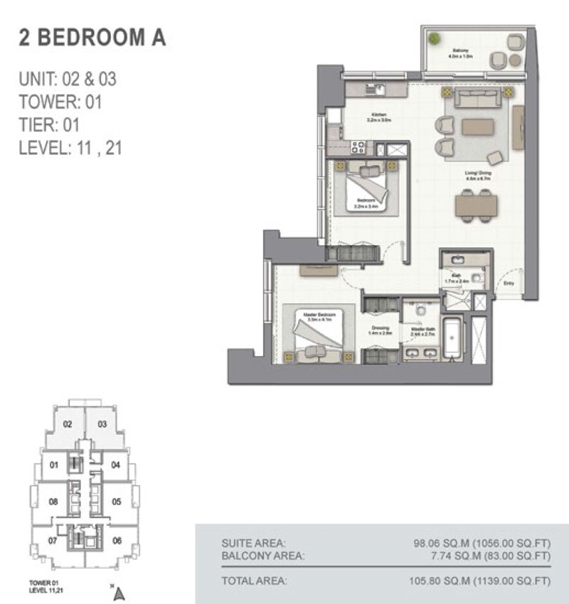 2 Bedroom A, Size 1139.00  sq. ft.