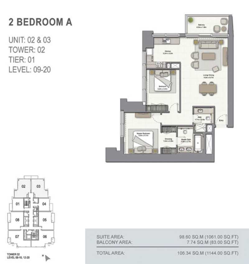 2 Bedroom A, Size 1144.00  sq. ft.