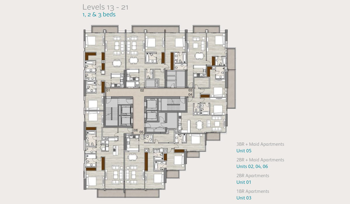Apartments Level 13 to 21, 1, 2 & 3 Bedroom
