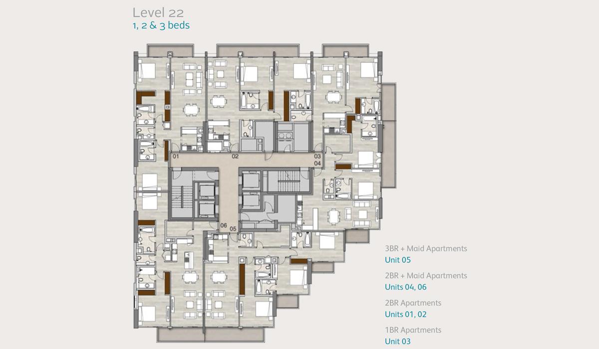 Apartments Level 22, 1, 2 & 3 Bedroom