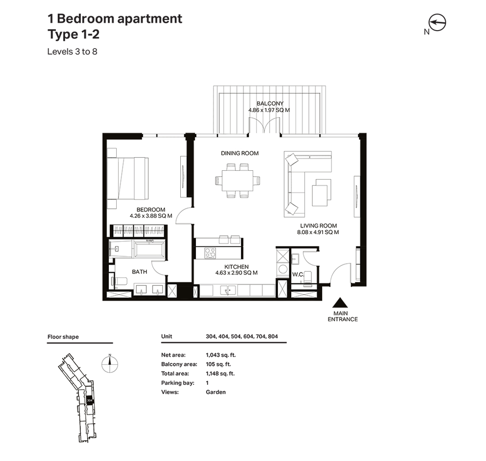 Building 3  -1 Bedroom  Apartment Type 1 2- Level 3 to 8 Size 1148  sq. ft.
