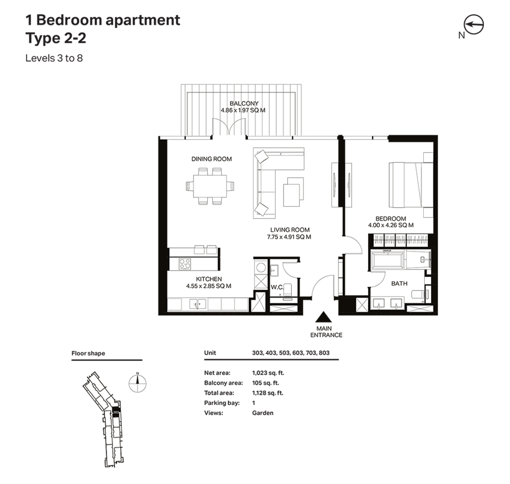 Building 3  -1 Bedroom Apartment Type 2 - 2 Level 3 to 8 Size 1128  sq. ft.