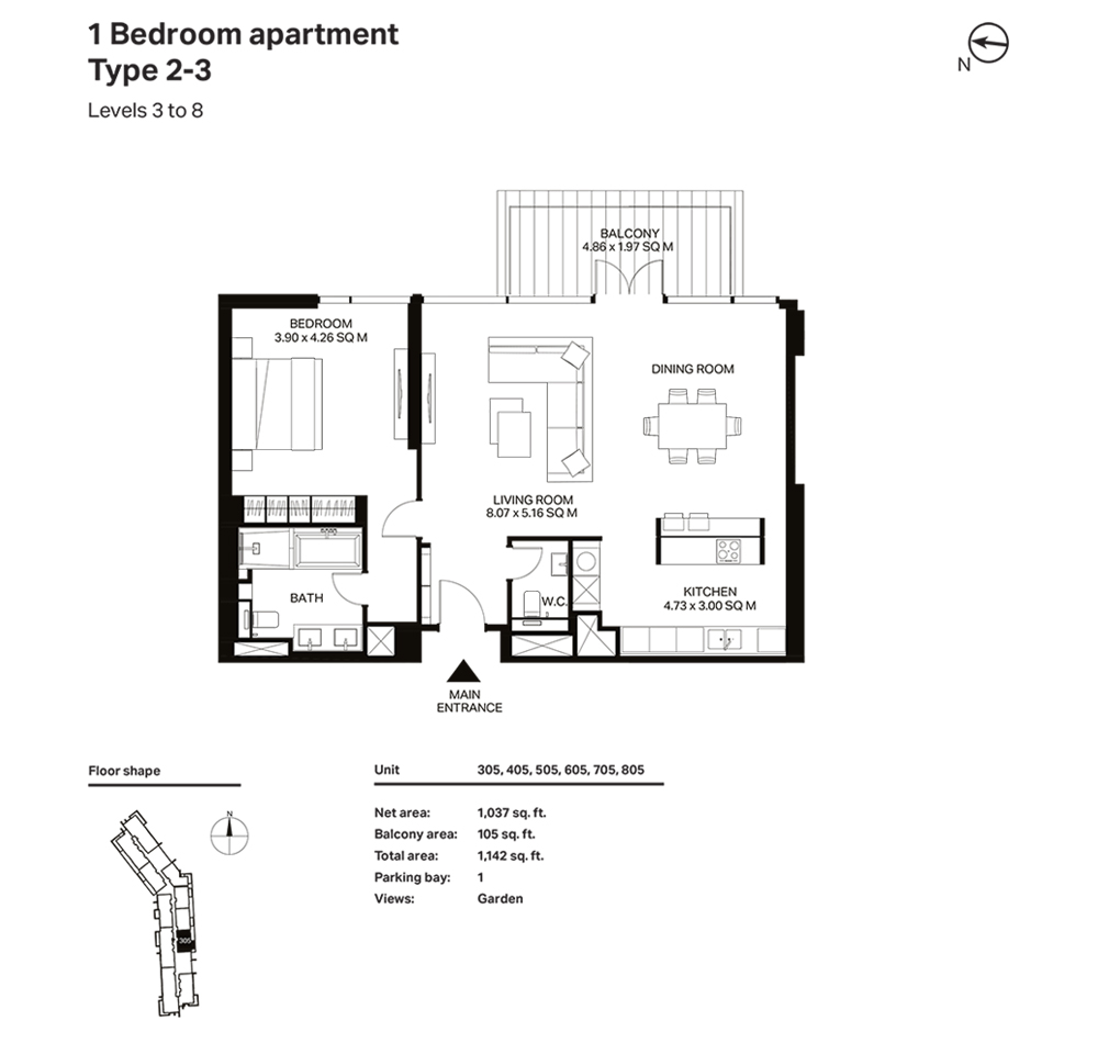 Building 3  -1 Bedroom Apartment Type 2 - 3  Level 3 to 8 Size 1142  sq. ft.
