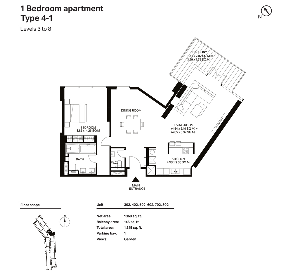 Building 3  -1 Bedroom Apartment  Type 4 - 1  Level 3 to 8 Size 1315  sq. ft.