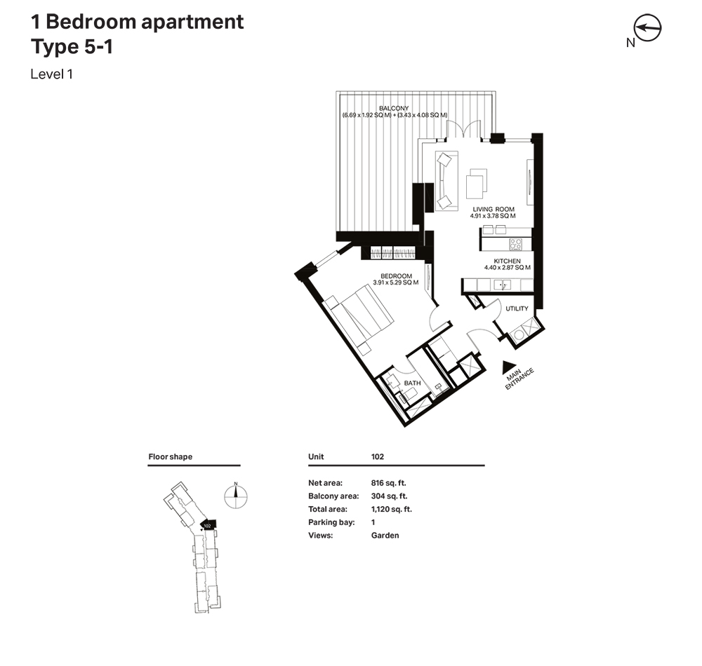 Building 3  -1 Bedroom Apartment Type 5 - 1  Level 1 Size 1120  sq. ft.