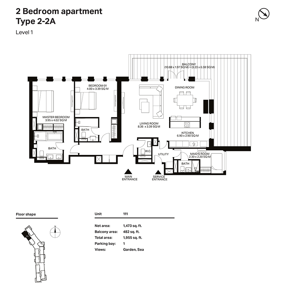 Building 3  -2 Bedroom Apartment Type 2 - 2 A  Level 1 Size 1955  sq. ft.