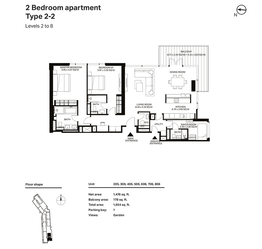 Building 3  -2 Bedroom Apartment Type 2 - 2 Level 2 to 8 Size 1654  sq. ft.
